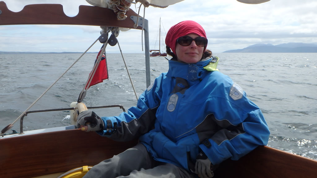 Tanya on the helm - Loch Fyne